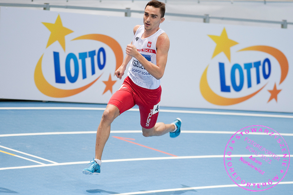 Adam Kszczot of Poland competes inmen's 800 meters qualification during the IAAF Athletics World Indoor Championships 2014 at Ergo Arena Hall in Sopot, Poland.<br /> <br /> Poland, Sopot, March 7, 2014.<br /> <br /> Picture also available in RAW (NEF) or TIFF format on special request.<br /> <br /> For editorial use only. Any commercial or promotional use requires permission.<br /> <br /> Mandatory credit:<br /> Photo by &copy; Adam Nurkiewicz / Mediasport