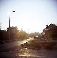 Suburban street in winter sunlight in Dublin Ireland