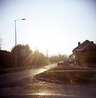 Suburban street in winter sunlight in Dublin Ireland