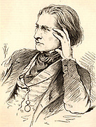 Franz (Ferencz) Liszt (1811-1886), Hungarian pianist and composer in 1832 at the age of 21. Engraving from 'The Illustrated London News' (London, 1886).