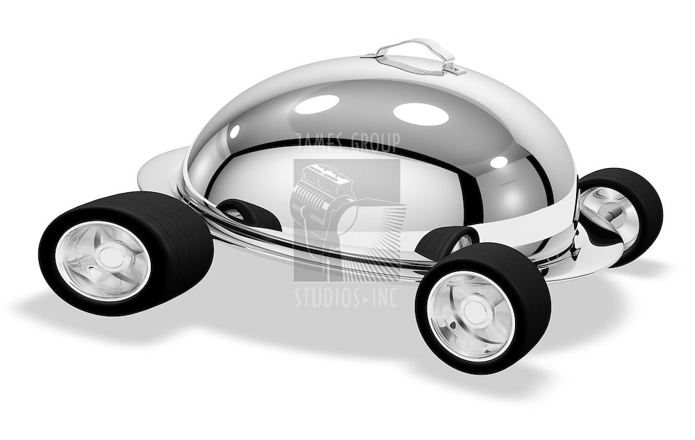High-Resolution Render of a Silver Speeding Catering Dish.