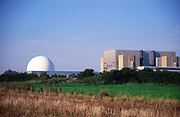 AMFY10 Sizewell nuclear power station Suffolk England UK - to the right is decommissioned Sizewell A the dome is the PWR of Sizewell B