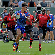 Manu Samoa's Joe Perez scores a 2nd half Try, protecting Samoa's 19-17 victory over Kenya at the World Cup 7's USA, AT&T Park, San Francisco, California, USA.  Photo by Barry Markowitz, 7/22/18, 1pm