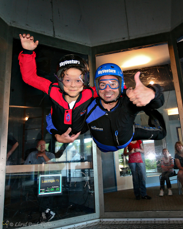 "LB (age 9) ""Skydiving"" with the instructor in the wind tunnel, Sky Ventures, Nashua, New Hampshire."