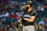 Apr 5, 2016; Phoenix, AZ, USA; Colorado Rockies outfielder Charlie Blackmon (19) prepares for his at bat against the against the Arizona Diamondbacks at Chase Field. The Arizona Diamondbacks won 11-6.  Mandatory Credit: Jennifer Stewart-USA TODAY Sports