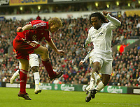 Photo: Aidan Ellis.<br /> Liverpool v Bolton Wanderers. The Barclays Premiership. 01/01/2007.<br /> Liverpool's Dirk Kuyt scores the third goal