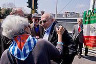 Roma 15 Aprile 2015<br /> Cerimonia di ricollocazione della targa, che intitola il ponte di Via Ostiense a Settimia Spizzichino,( Roma, 15 aprile 1921 – Roma, 3 luglio 2000), reduce della Shoah e unica donna sopravvissuta al rastrellamento del ghetto di Roma il 16 ottobre 1943. Nella foto: Piero Terracina (C)  ex deportato del campo di Auschwitz.<br /> Rome April 15, 2015<br /> Ceremony placement of the plate that's called the bridge of  Via Ostiense in Settimia Spizzichino, (Rome, April 15, 1921 - Rome, 3 July 2000), survivor of the Holocaust and only woman survived the roundup of the ghetto of Rome October 16,1943. Pictured: Piero Terracina (C) former deported from Auschwitz