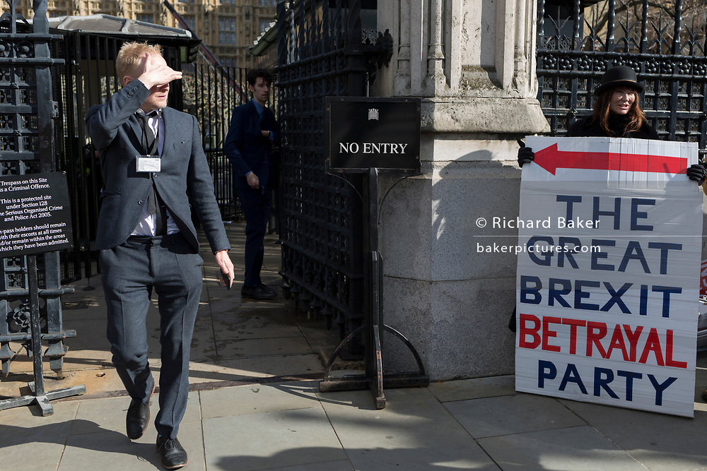 On the day that MPs in Parliament vote on a possible delay on Article 50 on EU Brexit negotiations by Prime Minister Theresa May, Brexiteer activists protest at the gates of the House of Commons, on 14th March 2019, in Westminster, London, England.