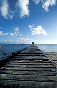 Lonely wooden pier on Huahine, Society islands.French Polynesia, South Pacific