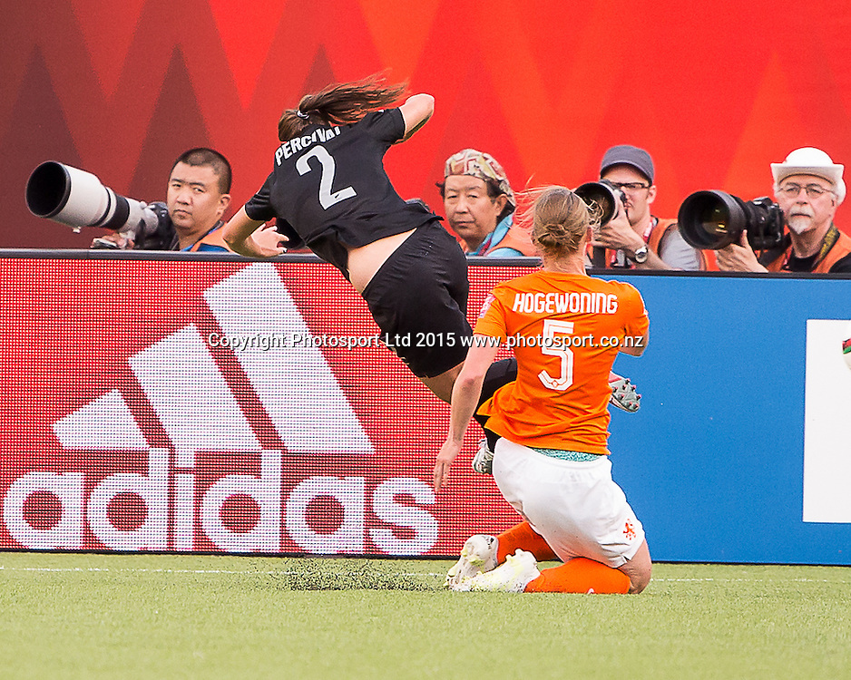 Petra Hogewoning, Ria Percival. Edmonton, Alberta, Canada, June 6, 2015.  The opening day of the Women's World Cup at Commonwealth Stadium.  New Zealand was defeated by Netherlands 1-0.