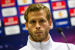19.10.2011, UPC Arena, Graz, AUT, UEFA Europa League , Pressekonferenz vor dem Spiel Sturm Graz vs RSC Anderlecht, im Bild Juergen Saeumel (SK Puntigamer Sturm Graz) // during Press Conference before the UEFA Europa League football game between Sturm Graz and RSC Anderlecht at UPC Arena in Graz, Austria on 19/10/2011. EXPA Pictures © 2011, PhotoCredit: EXPA/ E. Scheriau