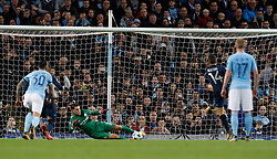 Manchester City goalkeeper Ederson saves penalty during the UEFA Champions League group F match at The Etihad Stadium, Manchester.