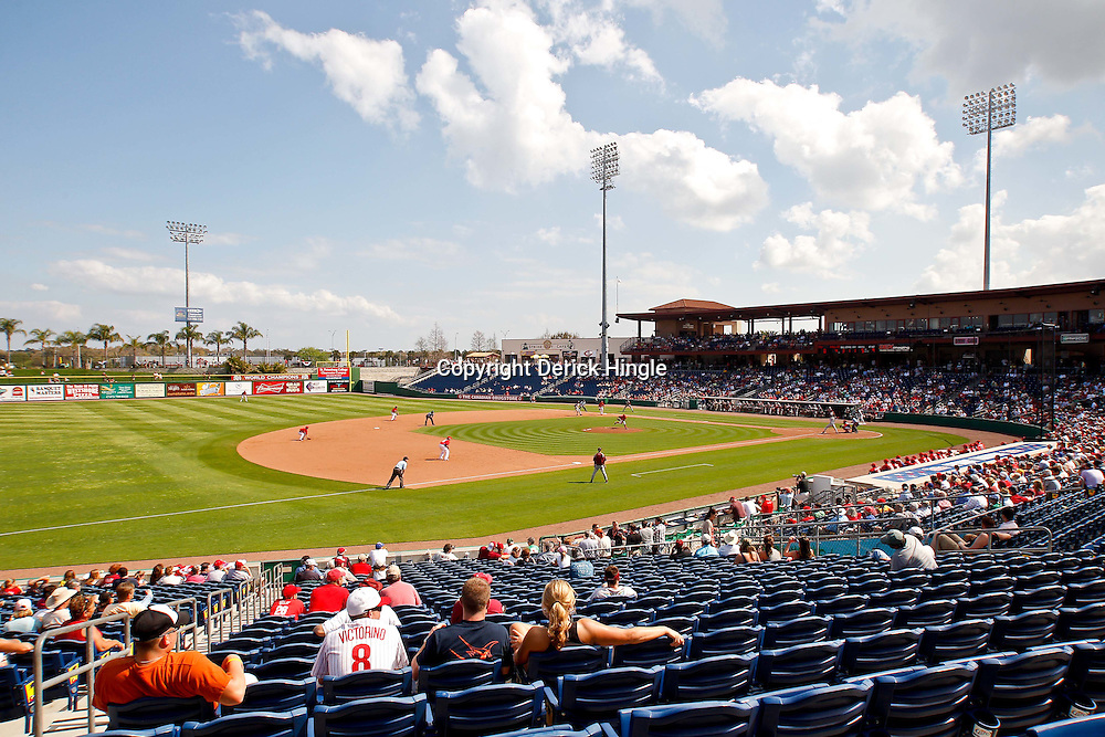 February 24, 2011; Clearwater, FL, USA; A general view during spring training exhibition game between the  Philadelphia Phillies and Florida State University at Bright House Networks Field. Mandatory Credit: Derick E. Hingle