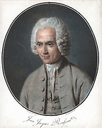 Jean-Jacques Rousseau (1712-1778), French political philosopher, educationalist and author. Aquatint after portrait by Garneray from Pierre Michel Alix (1752-1817) series of portraits of eminent men.