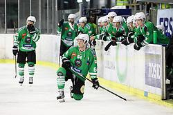 Players of Olimpija dissapointed during ice hockey match between HDD Olimpija Ljubljana and HDD SIJ Acroni Jesenice in Final of Slovenian League 2016/17, on April 12, 2017 in Hala Tivoli, Ljubljana, Slovenia. Photo by Matic Klansek Velej / Sportida