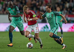 September 3, 2017 - Budapest, Hungary - Balazs Dzsudzsak (L) of Hungary in action with Cedric (R) of Portugal during the World Cup qualification match between Hungary and Portugal at Groupama Arena on Nov 03, 2017 in Budapest, Hungary. (Credit Image: © Robert Szaniszlo/NurPhoto via ZUMA Press)