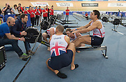 London. United Kingdom.    GBR Rowing men's Relay team, Will SATCH, Mo SBIHI, Sam TOWNSEND and Alex GREGORY, Change over  at the 2015 British Rowing Indoor Championships.[BRIC].<br />