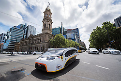ADELAIDE, AUSTRALIA - OCTOBER 13: Solar Team Eindhoven vehicle 'Stella Vie' from the Netherlands passes the Adelaide Town Hall on Day 6 of the 2017 Bridgestone World Solar Challenge at Victoria Square on October 13, 2017 in Adelaide, Australia. Teams from across the globe are competing in the 2017 World Solar Challenge - a 3000 km solar-powered vehicle race between Darwin and Adelaide. The race begins on October 8th with the first car expected to cross the finish line on October 11th.  (Photo by Daniel Kalisz/Getty Images for SATC) (Credit Image: © 2017 Bridgestone World Solar C/Xinhua via ZUMA Wire)