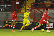 David Sesay, Cameron Pring and George Francomb  during the EFL Sky Bet League 2 match between Crawley Town and Cheltenham Town at the Broadfield Stadium, Crawley, England on 5 January 2019.