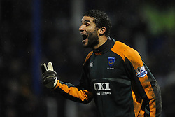 David James (Portsmouth) screams at his defence during the Barclays Premier League match between Portsmouth and Chelsea at Fratton Park on March 3, 2009 in Portsmouth, England.