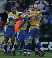 Photo: Paul Thomas.<br /> Mansfield Town v Walsall. Coca Cola League 2. 20/01/2007.<br /> <br /> Mansfield celebrate Martin Gritton's (2nd R) goal to give them the lead.