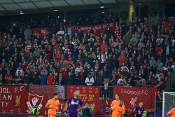 MARIBOR, SLOVENIA - Tuesday, October 17, 2017: Liverpool supporters during the UEFA Champions League Group E match between NK Maribor and Liverpool at the Stadion Ljudski vrt. (Pic by David Rawcliffe/Propaganda)