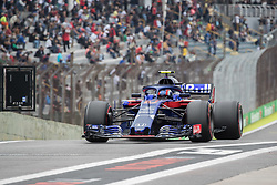 November 9, 2018 - Sao Paulo, Sao Paulo, Brazil - PIERRE GASLY, of Scuderia Toro Rosso, drives during the free practice session for the Formula One Grand Prix of Brazil at Interlagos circuit, in Sao Paulo, Brazil. The grand prix will be celebrated next Sunday, November 11. (Credit Image: © Paulo LopesZUMA Wire)