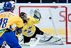 Markus Dahlbom of Sweden watching puck crossing goal line at Game 8 of IIHF In-Line Hockey World Championships Top Division Group match between National teams of Sweden and Slovenia on June 29, 2010, in Karlstad, Sweden. (Photo by Matic Klansek Velej / Sportida)