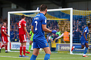 AFC Wimbledon defender Luke O'Neill (2) and AFC Wimbledon attacker Michael Folivi (17) celebrating after goal during the EFL Sky Bet League 1 match between AFC Wimbledon and Accrington Stanley at the Cherry Red Records Stadium, Kingston, England on 17 August 2019.