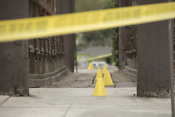 August 15, 2017 - Fullerton, CA, USA - A trail of blood is marked with yellow cones at a murder investigation where a man in his 30s stabbed his mother and her boyfriend in Fullerton, CA on Tuesday, August 15, 2017. (Credit Image: © Ken Steinhardt/The Orange County Register via ZUMA Wire)