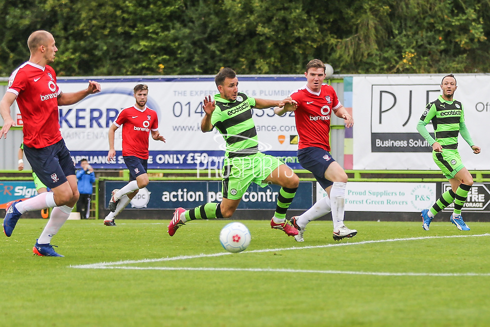 Forest Green Rovers Matt Tubbs (20) shoots at goal during the Vanarama National League match between Forest Green Rovers and York City at the New Lawn, Forest Green, United Kingdom on 20 August 2016. Photo by Shane Healey.