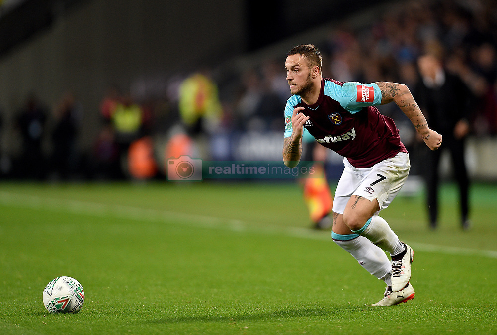 """West Ham United's Marko Arnautovic in action during the Carabao Cup, third round match at the London Stadium. PRESS ASSOCIATION Photo. Picture date: Tuesday September 19, 2017. See PA story SOCCER West Ham. Photo credit should read: Daniel Hambury/PA Wire. RESTRICTIONS: EDITORIAL USE ONLY No use with unauthorised audio, video, data, fixture lists, club/league logos or """"live"""" services. Online in-match use limited to 75 images, no video emulation. No use in betting, games or single club/league/player publications."""
