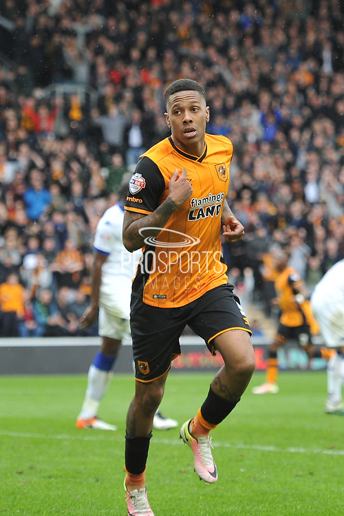 Hull City striker Abel Hernandez (9) celebrates scoring goal to go 1 all during the Sky Bet Championship match between Hull City and Leeds United at the KC Stadium, Kingston upon Hull, England on 23 April 2016. Photo by Ian Lyall.