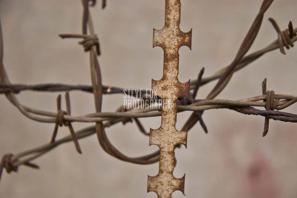 Barbed wire at Tuol Sleng Genocide Museum, Phnom Penh, Cambodia