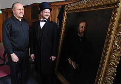 Iain Hammond Brown and Andrew Carnegie's great-great-great grandson Joe Whiteman with the painting<br /> <br /> (c) David Wardle | Edinburgh Elite media