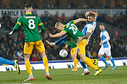 Jayden Stockley of Preston North End and Bradley Johnson of Blackburn Rovers  contest a loose ball  during the EFL Sky Bet Championship match between Blackburn Rovers and Preston North End at Ewood Park, Blackburn, England on 11 January 2020.