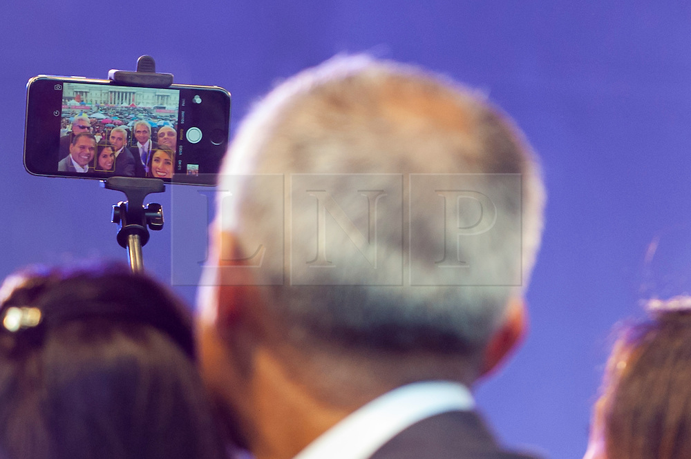 © Licensed to London News Pictures. 16/10/2016. London, UK. Sadiq Khan, Mayor of London, takes a selfie alongside VIPs at the official opening ceremony of the annual Diwali taking place in Trafalgar Square. Photo credit : Stephen Chung/LNP