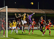Crawley goakeeper Darryl Flahavan punches clear under pressure during the Sky Bet League 2 match between Crawley Town and Northampton Town at the Checkatrade.com Stadium, Crawley, England on 24 November 2015. Photo by David Charbit.