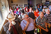 31 OCTOBER 2010 -  KINGMAN, AZ:    The crowd at Calico's Restaurant in Kingman listen to Terry Goddard. Goddard, and the other Democrats on the statewide ticket, campaigned in Window Rock and Kingman on Halloween. Goddard ended the day with a press conference in front of the Executive Office Tower at the State Capitol in Phoenix. Goddard lost the election to sitting Governor Jan Brewer, a conservative Republican.     PHOTO BY JACK KURTZ
