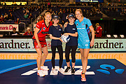 Future Captains Sophie Music and Oakley Holland with Tactix`s Captain Anna Thompson of the Tactix and Steel Captain Wendy Frew of the Southern Steel  during the ANZ Netball Premiership match, Tactix v Steel, Horncastle Arena, Christchurch, New Zealand, 19th April 2017.Copyright photo: John Davidson / www.photosport.nz