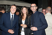 BRYAN FERRY; AMANDA SHEPPARD; ALESSANDRO SARTORI, Dinner to celebrate the opening of the first Berluti lifestyle store hosted by Antoine Arnault and Marigay Mckee. Harrods. London. 5 September 2012.