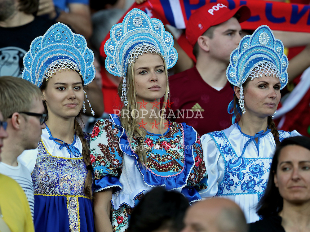 TOULOUSE, FRANCE - Monday, June 20, 2016: Three Russia supporters dressed in traditional costume before the final Group B UEFA Euro 2016 Championship match against Wales at Stadium de Toulouse. (Pic by David Rawcliffe/Propaganda)