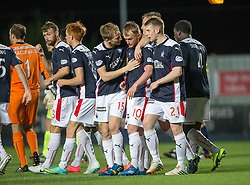 Falkirk's players cele Craig Sibbald scoring the winning penalty.<br /> Full time : Falkirk 0 v 0 Cowdenbeath, Falkirk win on penalties after extra time, second round League Cup tie played at The Falkirk Stadium.