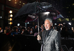 Sir Tom Jones arriving for The Voice UK auditions at The Voice UK Dock 10, Media City Blue, Salford, Manchester.