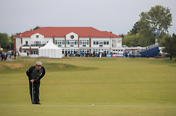 Robert Rock lines up his putt on the first green during day two of the Betfred British Masters at Hillside Golf Club, Southport.