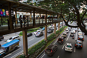Walkway over the road towards Glorietta Shopping Mall in on Palm Drive, Makati, Philippines.  (photo by Andrew Aitchison / In pictures via Getty Images)