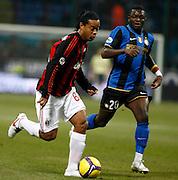 "Ronaldinho (Milan) Sulley Munteri (Inter).Milano 15/2/2009 Stadio ""Giuseppe Meazza"".Campionato Italiano Serie A.Inter Milan."