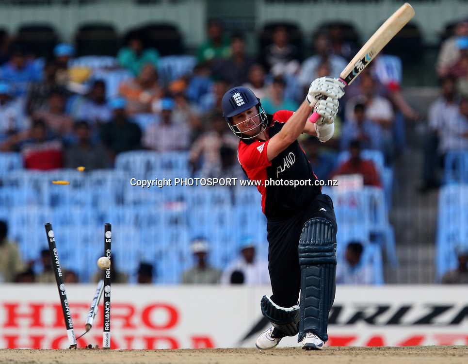 England batsman Graeme Swann bowld during the ICC Cricket World Cup - 36th Match, Group B England vs West Indies Played at MA Chidambaram Stadium, Chepauk, Chennai (neutral venue)