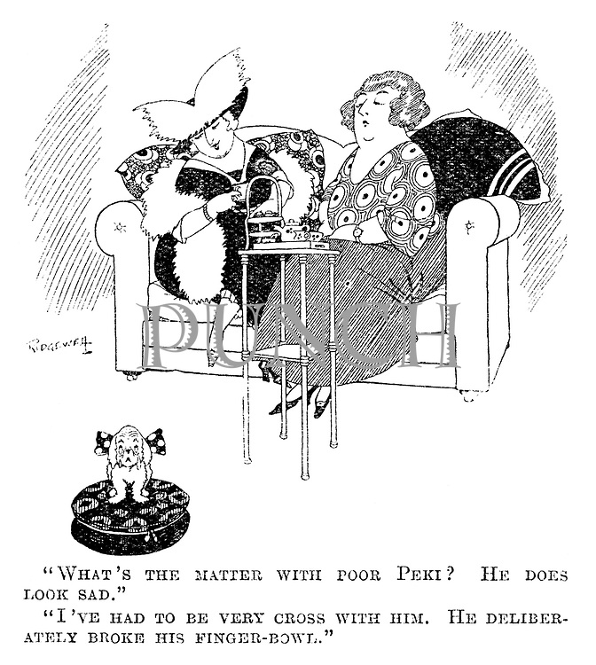 """""""What's the matter with poor Peki? He does look sad."""" """"I've had to be very cross with him. He deliberately broke his finger-bowl."""""""
