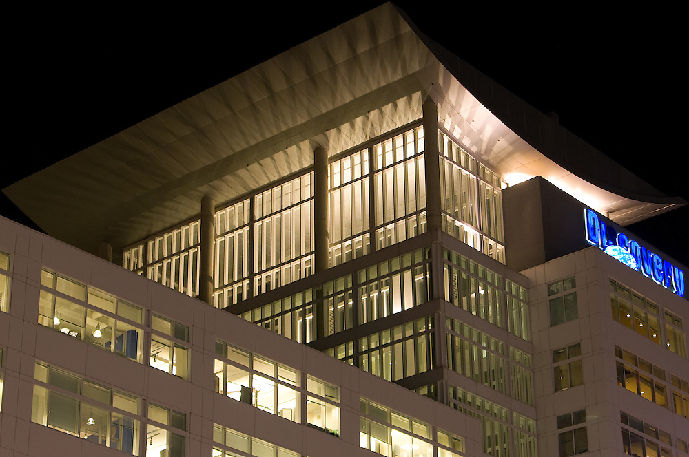 Discovery Channel headquarters building at night in Silver spring, MD